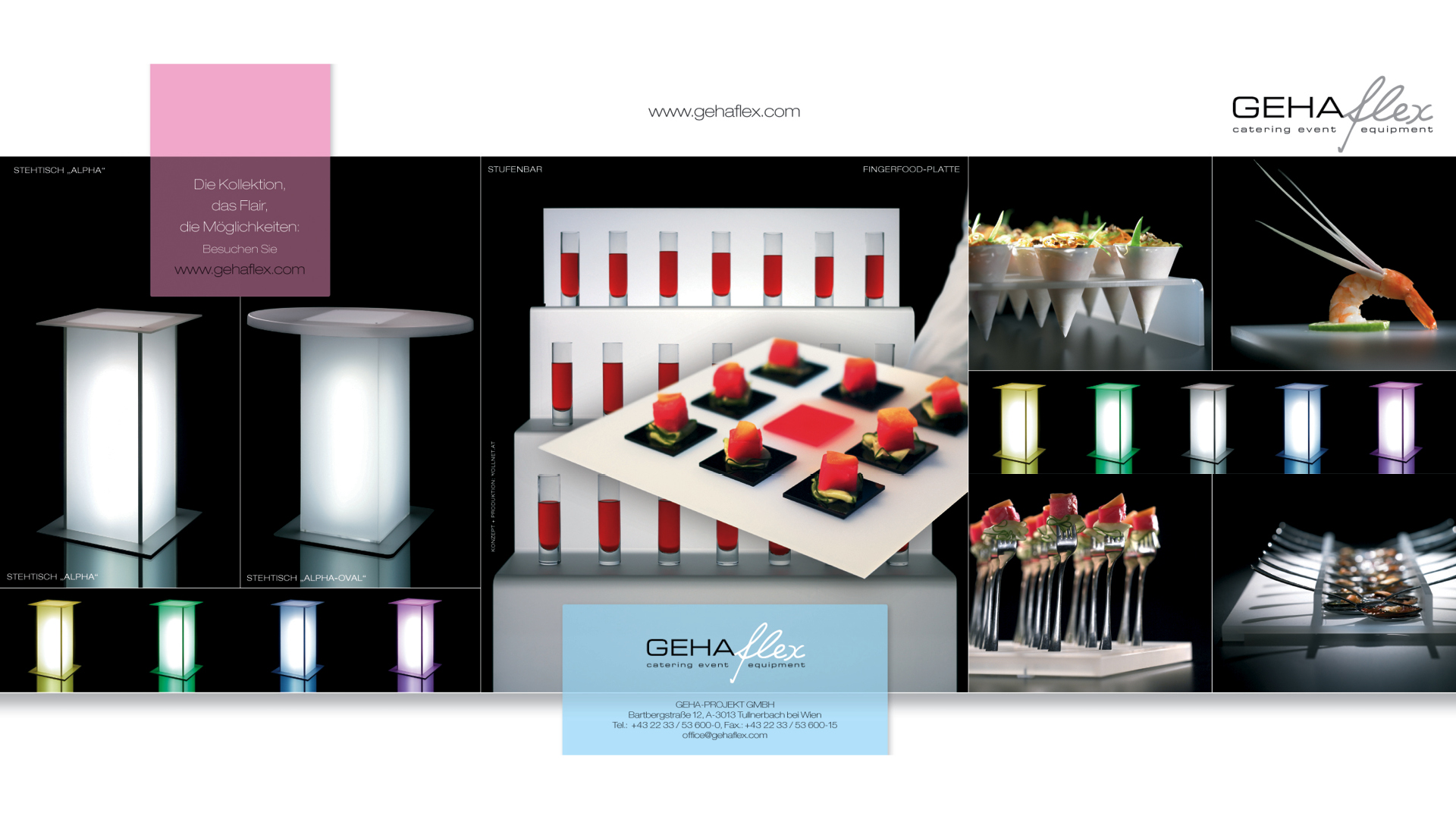 Gehaflex Catering Event Equipment, Designentwicklung, Imagebroschüre, Inserate ...