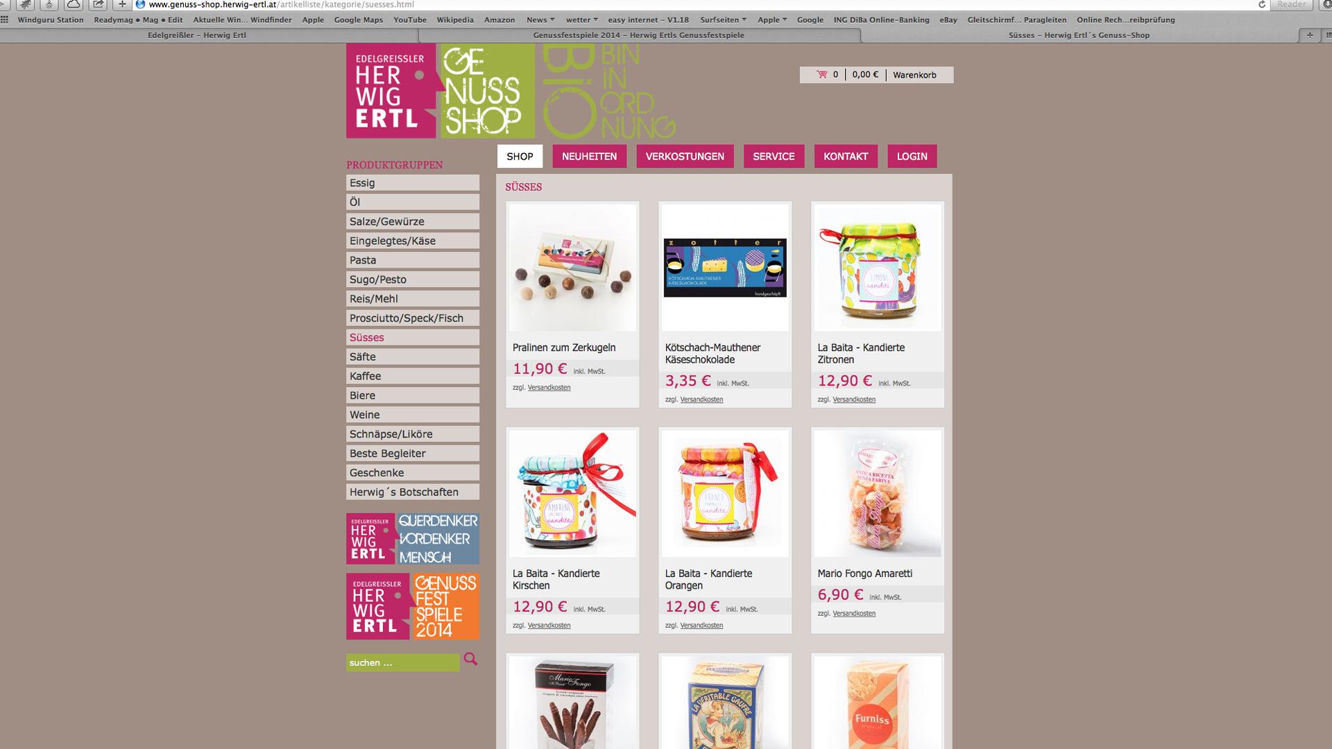 Website für Edelgreissler Herwig Ertls Genuss-Shop