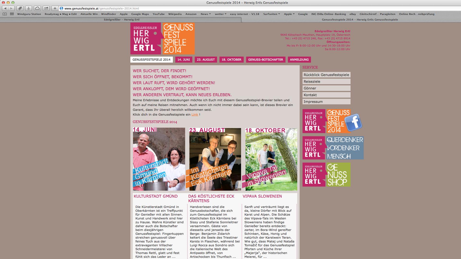 Website für die Edelgreissler Herwig Ertls Genussfestspiele