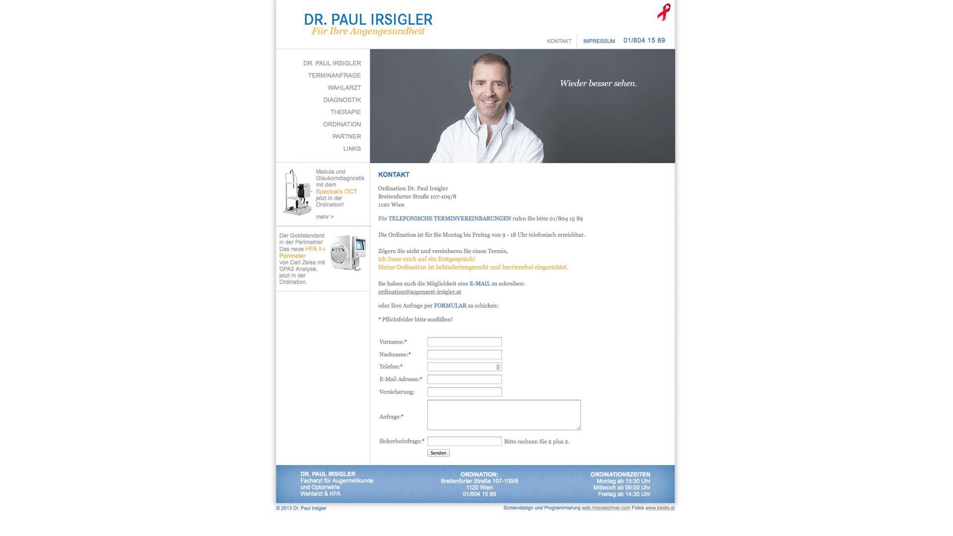 Augenarzt Dr. Paul Irsigler für Ihre Augengesundheit