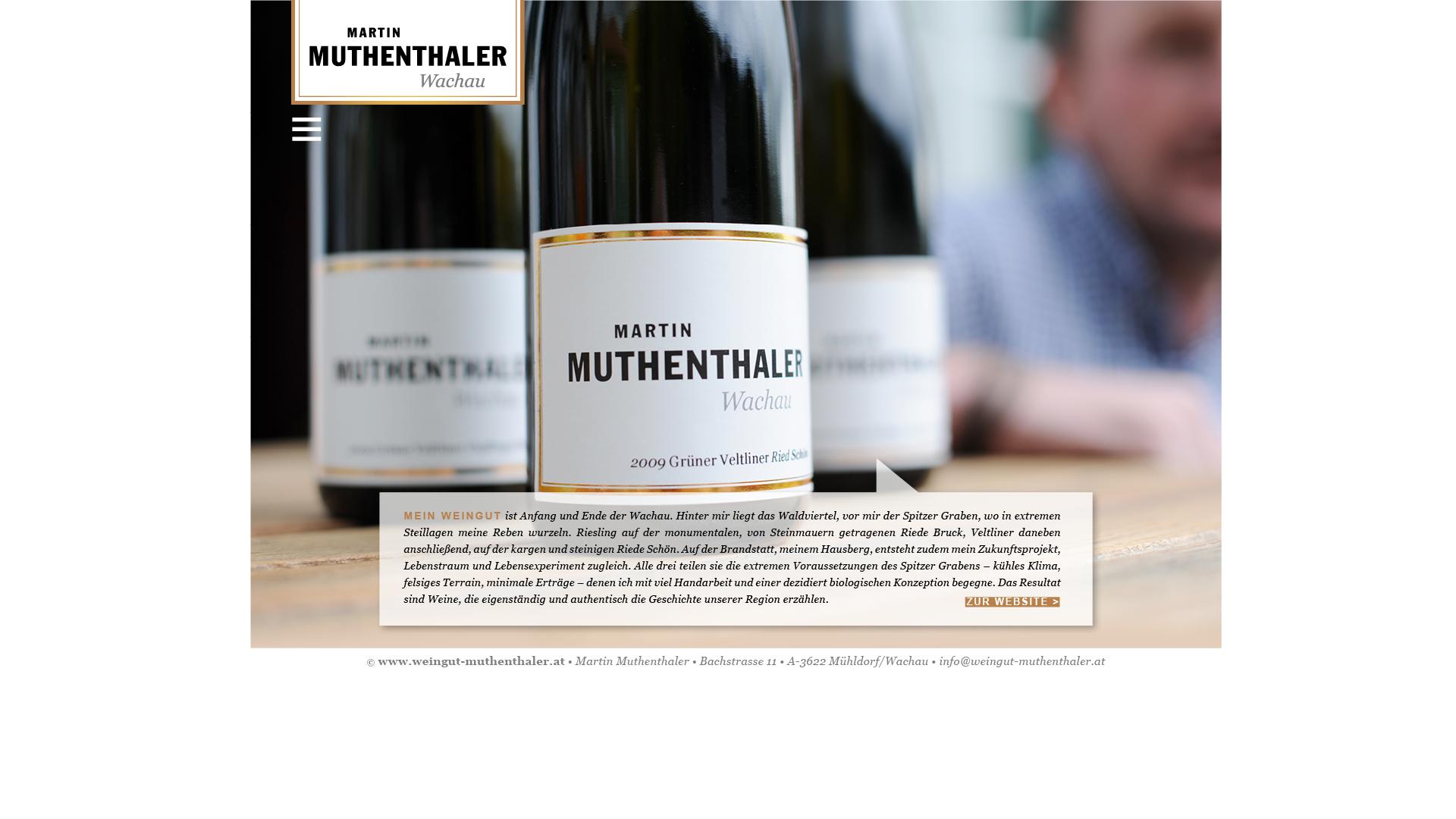 Designentwicklung Logo und Website für Weingut Martin Muthenthaler Wachau Logo und Website für Weingut Martin Muthenthaler Wachau
