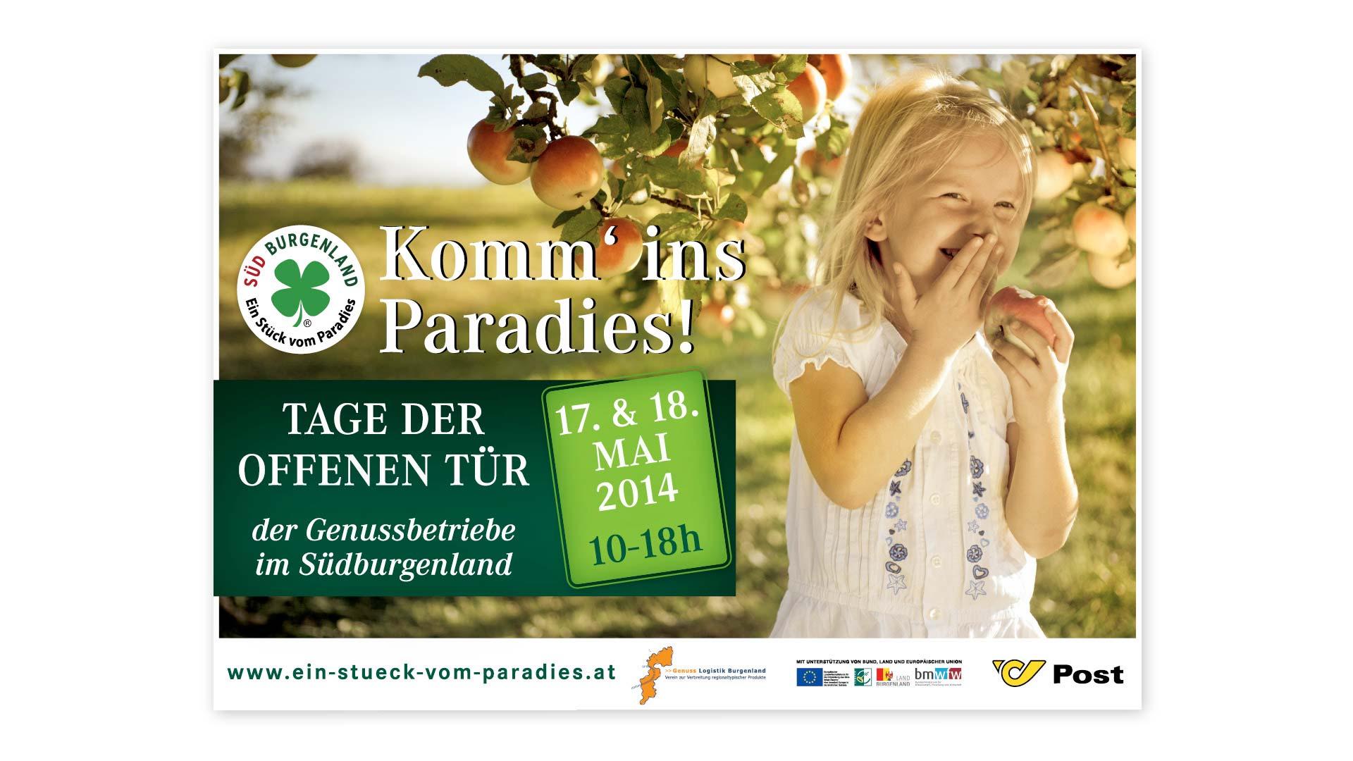 Komm ins Paradies Plakatdesign