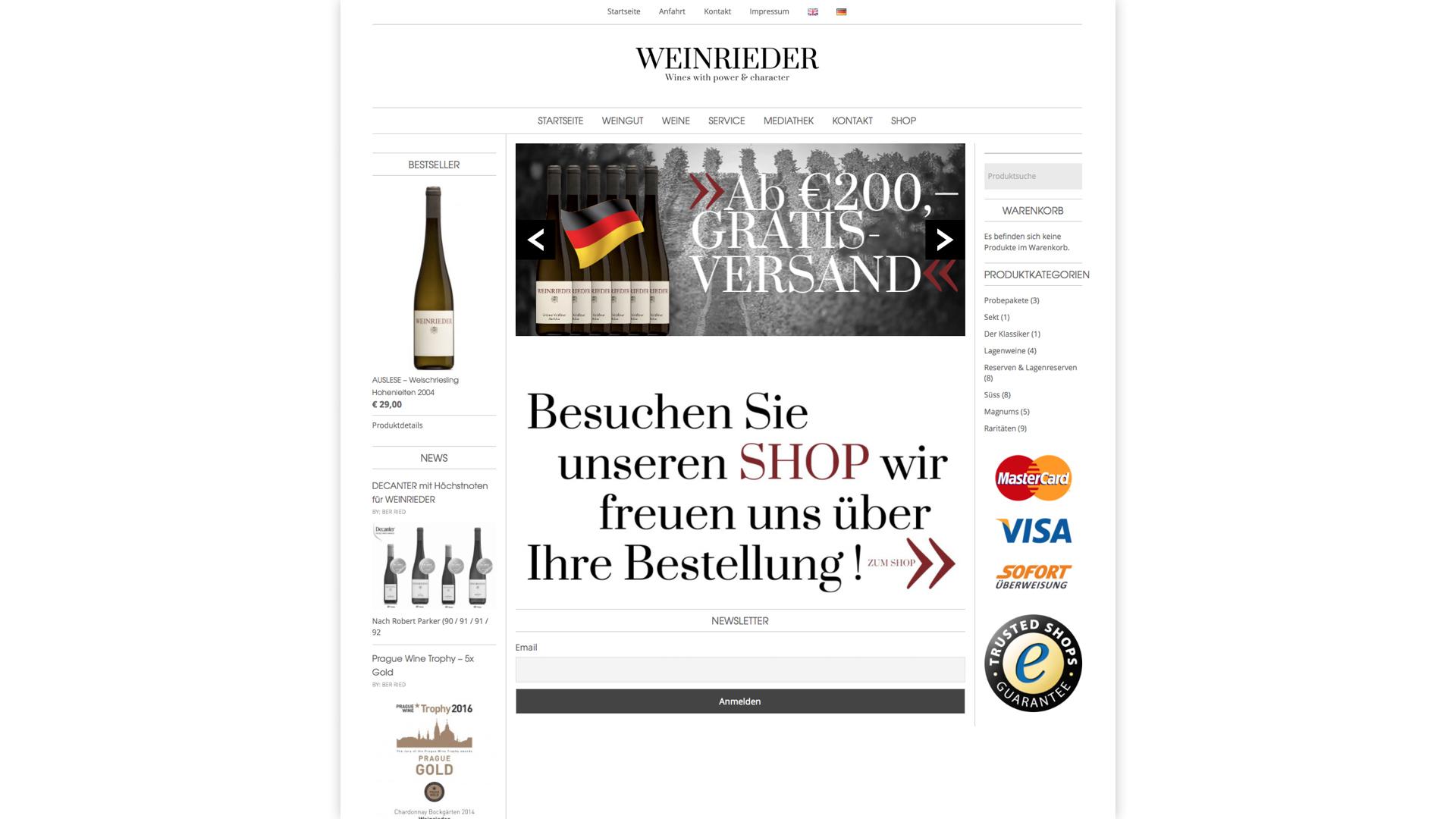 Corporate Design, Etikettengestaltung, Webdesign, Webshop für Weingut Weinrieder