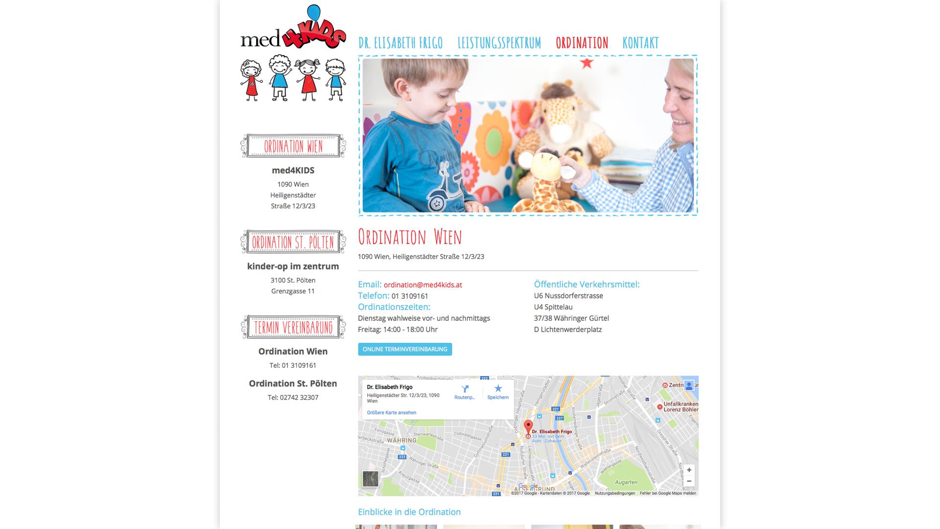 Designentwicklung, Website, Logo, Fotos und Website für med4kids
